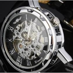 Wholesale Skeleton Manual Watch Men - Free Shipping Wholesale Black Face Skeleton Analog Display Watch Casual Men Manual Wind Mechanical Wrist Watch Brand Winner