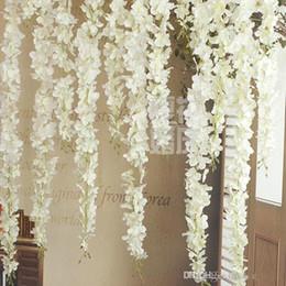 Canasta de flores de la pared online-De lujo Artificial Seda Wisteria Flores Para DIY Boda Arco Plaza de Ratán Simulación Flores Inicio Colgante de Pared Cesta Decoraciones