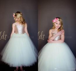 Wholesale Cheap Easter Tutus - 2017 Sparkly Rose Gold Sequins Puffy Little Princess Flower Girls' Dresses Beautiful Tutu Gown Custom Make Cheap Little Girl Formal Dress