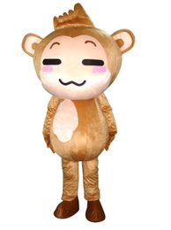 Wholesale Monkey Mascot Head - Factory Outlets Hot Sale The big head brown monkey Halloween Fancy Dress Cartoon Adult Animal Mascot Costume free shipping