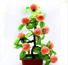 Wholesale Flowers Sketches - Hot Artificial Peach Tree Bonsai House Decoration Sketching Tool Artificial Flower Ornament 10 Fruits