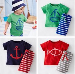 Toptan-erkek bebek yaz giysileri seti T-shirt + çizgili şort 2 adet / takım bebek giyim çocuklar suit Ücretsiz Kargo cheap boys striped suit nereden erkek çizgili takım tedarikçiler