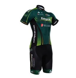 Wholesale Short Europcar - Wholesale-New 2015 Europcar short sleeved cycling jersey and cycle shorts set strap riding a bicycle clothing best wear free shipping