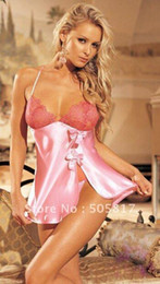 Wholesale Cute Babydoll Sleepwear - Promotion 2 Colors Cute Ladies Satin Babydoll Lingerie Sexy Lace Bow Halter Chemise Robes Sexy Night Sleepwear Pink Purple S214