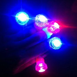 Wholesale Diamond Crystal Led - Edison2011 Large Diamond LED Finger Ring Crystal Ring Light LED Flashing Mix Colors For Halloween Christmas Festival Kid Light-Up Toy