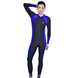 Wholesale Guard Swim - Wholesale-High quality Durable Male wetsuit Rash Surfing Guards striped swimwear High quality Zipper One piece bathing suit swim bodysuit