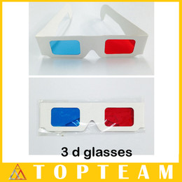 Wholesale Lens Paper Wholesale - Hotsale Convient 100pcs lots 3D Paper Glasses For 3D Movies Red Blue Lens With OPP Package Free DHL