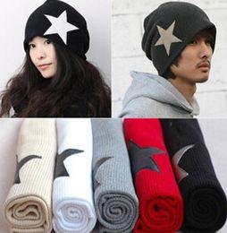 Wholesale Korean Stars Cap - Wholesale - Men Women Berets Hot Korean Style Color Matching Hat Five-pointed Star Cap Triangle Set Head Cap Crochet Autumn Winter Drop DHL