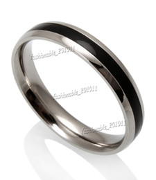 Wholesale Wholesale Jewerly Wedding - 4MM Black Enamel Dome Top Stainless steel Fashion Women Mens Jewerly Band Ring New Size 16mm to 20mm