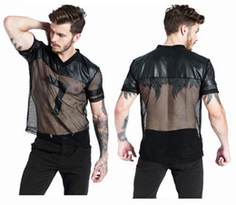 Wholesale Male Erotic - S-XL Fashion New Male Black Leather Fishnet Tops Undershirt Erotic See Through V-Neck Mesh T-Shirt Strong Popular Men Fitness Costume