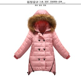 Wholesale Double Breasted Jackets For Kids - Children Down Coat For 2015 Winter New Arrival Big Girls Coat Kids Clothing Hood Collars Double-breasted Children Down Jacket CD125