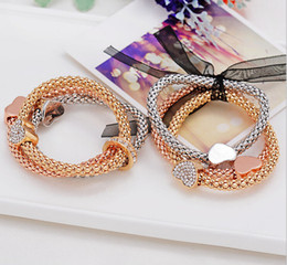 Wholesale Indian Weave Wholesale Jewelry - Lovely multilayer Coin bracelet Fashion shollow out heart coin Crystal weave multilayer brangle bracelet jewelry women's bracelets & bangles