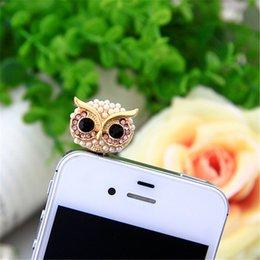 Wholesale Owl Earphone Jack - Pearl big eye Owl Earphone 3.5 audio Dust Plug 3.5mm AUX Jack for apple Iphone Xiaomi PC latop cork Korea