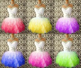 Wholesale Short Sweetheart Neckline Dresses - cheap hot Short prom dresses with beaded crystals neckline pleats sweetheart Puffy ruffles colorful cocktail dress homecoming dresses