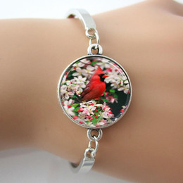 Wholesale Glass Ring Males - Male Northern Cardinal Among Crabapple Blossoms Bird Photo Glass Dome Bracelets Bangle Plated Antique Silver,Rhodium Bangles