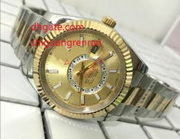 Wholesale Dual Time Zone - Luxury AAA brand Sapphire 42mm Auto Date Watch Men Dual Time Zone 326933 two-tone yellow gold Automatic Mechanical Men Men's Wristwatch