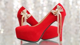 Wholesale Custom Bridesmaid Shoes - beads jeweled handmade high heel strass lady red bridal shoes Bridesmaid Bridal Shoes for Wedding Party Ball Prom Pageant Event custom made