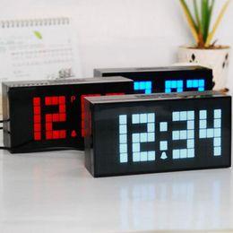 Wholesale Led Digit Clock - 4 Digits Big Font LED Mute Alarm Clock Simple Table Clock Calendar Temperature Snooze Clock Children Digital Clock