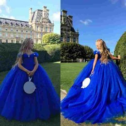 Wholesale Baby Cinderella Dresses - Royal Blue Cinderella Flower Girl Dresses For Weddings Off The Shoulder Crystals Kids Formal Pageant Ball Gowns Baby Communion Dresses