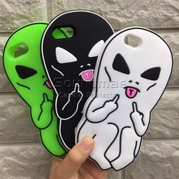 Wholesale Cute Silicone Phone Cases - Funny Cool Alien Middle Finger Silicone cartoon Phone Case Soft Silicon 3D Rubber Cute Extraterrestre Case for iphone X 8 7 6 6s plus 5 SE
