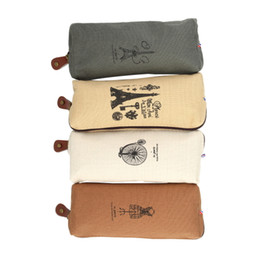 Wholesale Paris Pencil Bag - Wholesale-Retro Canvas towers pencil bag students Paris style pencil cases stationery material office supplies Cosmetic Makeup Tool Bag