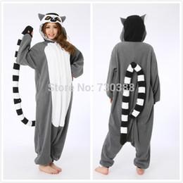 Wholesale Monkey Mascot Costume Adult - mascot Halloween Novelty Animal Lemur Long Tail Monkey Adult Onesie Unisex Women Men Pajamas Christmas Party Costumes Plus Size