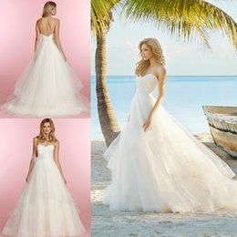 Wholesale Sweetheart Natural Waist White Dresses - Cheap Wedding Gowns Inspired by Blush Hayley Paige 2015 A Line Sweetheart Lace Bodice Sleeveless Natural Waist Zipper Back Beach Bridal Gown