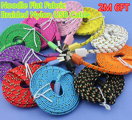 Wholesale Micro Usb Noodle 2m Charger - Noodle Flat Fabric Braided USB Cable For ap 4 5 6 6 5.5inch Nylon Data Sync 2M 6FT USB Charger Cable
