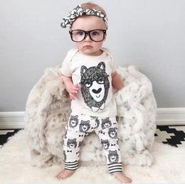 Wholesale Alpaca Baby - Baby Outfits Child Alpaca Clothes Kids Clothing 2015 Boys Girls Short Sleeve T Shirt Kid Summer Long Trousers Children Set Kids K4730