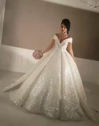 Wholesale Make Up Glue - Dubai Arabic Off Shoulder Ball Gown Sequined Sparkly Wedding Dresses 2017 Chapel Train Glitter Glued Lace-up Custom Bridal Gown