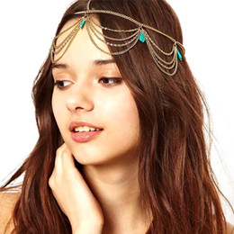 Wholesale Trendy Chain Headbands - Turquoise Hair Jewelry Headband Bohemia gold chain hair accessories 2015 hot sale bridal accessories