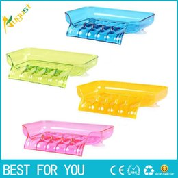 Wholesale Red Plastic Tray - Waterfall Soap Holder Tray Drain Draining Bath Shower Soap Box Sink Sponge Drainage Soap Dish Rack Plate Bathroom Set 1 Pc