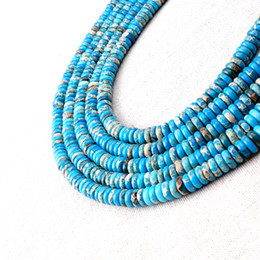 Wholesale Turquoise Spacer Beads - Stabilized Turquoise Loose Beads Wheel Howlite Spacer Stone Loose Beads Trendy Jewelry Accessories Supplies BYYLS0308 100pcs strand