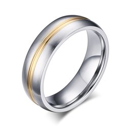 Wholesale Metal Ring Inlay - 6mm Two Tone Stainless Steel Metal Simple Rings with Gold Line Inlay