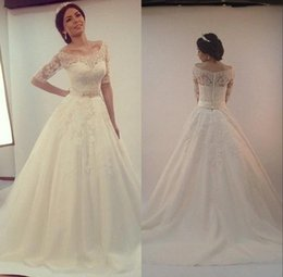 Wholesale Bateau Ivory Wedding Dress Muslim - Custom-made 2015 Elegant Lace Appliques Wedding Dresses Long Bridal Gown With Sash Half Sleeves A-line Wedding Gowns Cheap Vestido de novia