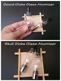 Wholesale Double Deck Atomizer - Skull and Gourd glass globe atomizer double deck pyrex tank wax dry herb vaporizer vapor m6 bulb dome glassomizer coils vape DHL