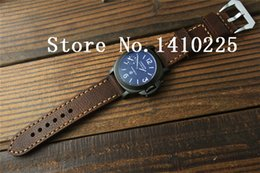 Wholesale 24mm Italian Leather Watch Strap - Wholesale-DIY Handmade Vintage Brown Italian leather Watch Band 22 24mm Watch Strap Stainless Buckle Clasp For Panerai Free shipping-046