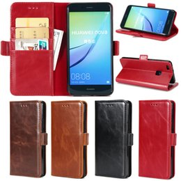 Wholesale Huawei Ascend Plus Phone - Version Phone Case For Huawei Ascend P8 P9 Lite 2017 Plus P10 Crazy Horse Leather Skin Wallet Card Stand Tpu Cover Case