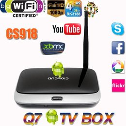 Wholesale Xbmc Tv Box - New!! Android 4.4 TV Box Q7 CS918 Full HD 1080P RK3188T Quad Core Media Player 1GB 8GB XBMC Wifi Antenna with Remote Control V763