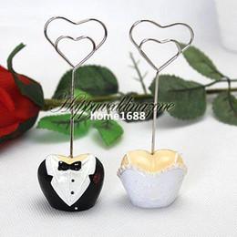 Wholesale Groom Wedding Dress Sets - Bride Dress & Groom Tuxedo Place Card Holder Wedding Shower Favor Decoration Set