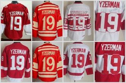 Wholesale Ice C - Mens Throwback Detroit Red Wings #19 Steve Yzerman Hockey Jerseys Home Red Vintage Winter Classic Red White Steve Yzerman Jersey C Patch