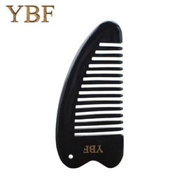 Wholesale Fine Natural Beauty - YBF Natural Black Buffalo Horn Comb Antistatic brush Professional Massage Beauty Care Tool Widen Teeth Brush