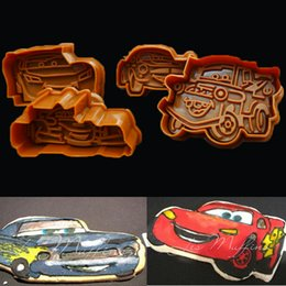 Wholesale Car Fondant - 4pcs Cartoon Cars Plastic Cookie Cutters Sugar Craft Fondant Cake Decoration Tool Biscuit Pastry Modeling Mould Mold Bakeware Cupcake Tools