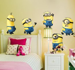 Wholesale Despicable Dhl - Despicable Me 2 Minion Wall Stickers Removable Home Decor Sticker Children Birthday Party Decoration Free DHL