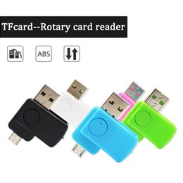 Wholesale Fast Mobile Computers - Micro USB Rotate Dual Purpose TF Card Reader for Mobile Phones Computer Colorful Android V8 Mini Card reader Fast Transfers with retail box