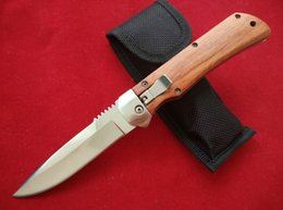 Wholesale Handle Gift Bags - Side open smooth action Folding Utility knife wood handle 57HRC blade outdoor survival knife christmas gift knives with nylon bag B219L
