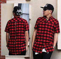 Wholesale Tyga Shirts - Wholesale-new cool exclusive flannel zip shirt men hip hop plaid designer clothes pyrex last kings men urban clothing brand tyga hba homme