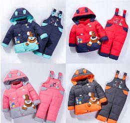 Wholesale Horse Jumpsuit - Baby Children boys girls winter warm down jacket suit set thick coat+jumpsuit baby clothes set kids jacket animal Horse fish Infantil A1