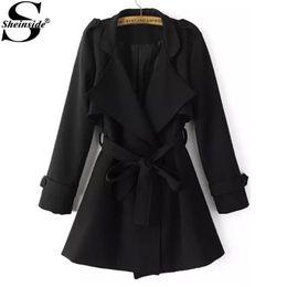 Wholesale Women S Korean Trench Coat - Wholesale-Sheinside Winter Spring Korean Style Outerwears Women's High Street Casual Black Long Sleeve Lapel Epaulet Tie-waist Trench Coat
