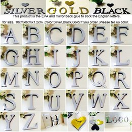 Wholesale English Decorations - 10cmx8cmx1.2cm(thick) DIY Wedding love letters Home Decoration Acrylic 3D Mirror Wall Stickers English Alphabet Home Decor For Wall